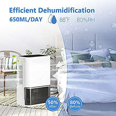 .com - LUKO Home Dehumidifier for Basement, Bedroom, Bathroom, 2200 Cubic Feet (300 sq ft), Portable Ultra-Quiet Dehumidifier with Drain Hose, 1800ml Water Bucket, Auto Shut-Off, Defrost and Timing -