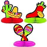 """Toys : Amscan Fiesta Cinco de Mayo Assorted Mini Honeycomb Centerpiece Decoration (3 Piece), Multi Color, 7 x 5.5"""""""