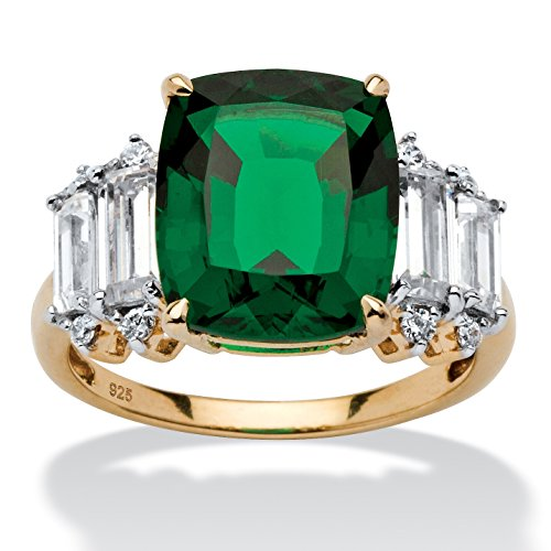 Cushion-Cut Lab Created Green Emerald and Baguette CZ 18k ...