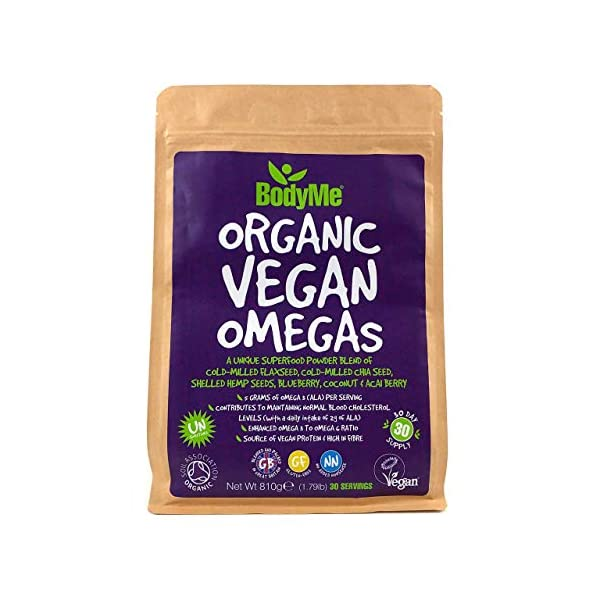 BodyMe Organic Vegan Omegas Powder | 810g | Vegan Omega 3 6 9 Blend | with Milled Flaxseed Milled Chia Seeds Hemp Seeds Blueberry Coconut Acai Berry