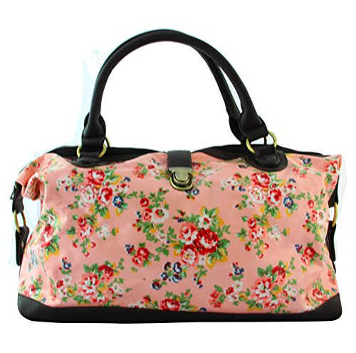 Cloth Oil Shopper Dusty Ladies Owl Tote Flower Bag Pink X1262 Shoulder Floral qpZTq