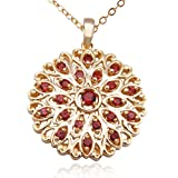 18k Yellow Gold Plated Sterling Silver Garnet Pendant Necklace , 18""