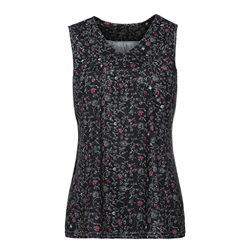 TnaIolral Women Blouse V-Neck Summer Loose Floral Printed Tops T-Shirt Blouse Black by TnaIolral (Image #2)