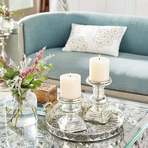 Deco 79 28883 Glass Candleholder Set of 2