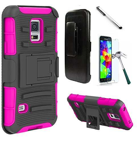 Samsung Galaxy S5 S 5 900A 900V 900P 900T 900M case, Luckiefind Dual Layer Hybrid Side Kickstand Cover Case With Holster Clip, Stylus Pen, Tempered Glass Screen Protector Accessory (Holster Pink) (Samsung Phone Faceplates)
