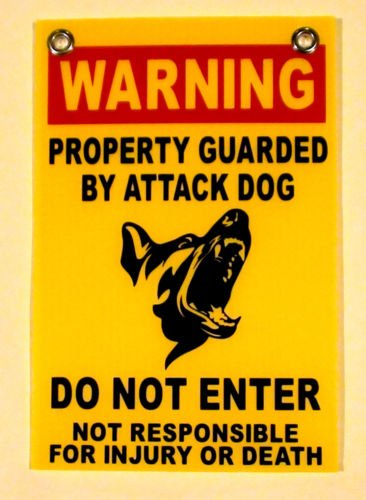 VINBOX (1) WARNING Property Guarded by Attack Dog DO NOT ENTER Sign w/Grommets 8x12 yel from VINBOX
