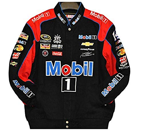 Tony Stewart Mobil 1 Nascar Jacket Size 3XLarge - Cotton Black Jacket Twill Stewart