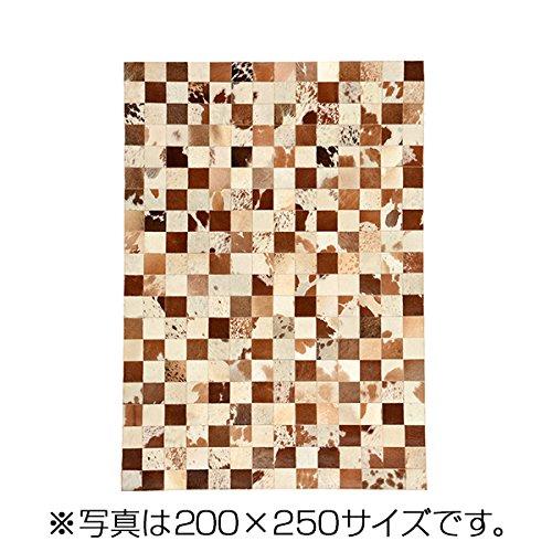 萩原 牛革ラグ 200×200 BR ブラウン 約200×200cm  B071RL31HH