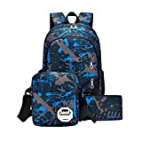 Outsta Waterproof Fabric Fashion Backpack, 3Pcs Unisex Oxford Classic Basic Water Resistant Casual Daypack for Travel with Bottle Side Pockets (Blue)