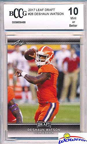Deshaun Watson 2017 Leaf Draft #26 FIRST EVER PRINTED ROOKIE Card Graded BECKETT 10 MINT! Awesome HIGH GRADE Rookie Card of Houston Texans Top NFL Draft Pick - Draft Houston Texans Nfl