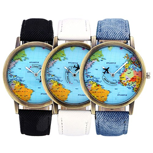 Top Plaza Womens Mens Rotating Airplane Global Travel World Map Watch PU Leather Band Quartz Watch 3pcs/Set (Map Watches)