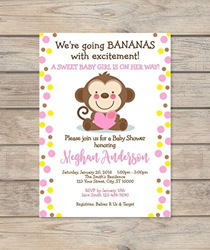 Mod Monkey Baby Shower Invitation, Custom Pink Dots Baby Monkey Safari Invite, Mod Monkey Girl Baby Shower Invitation