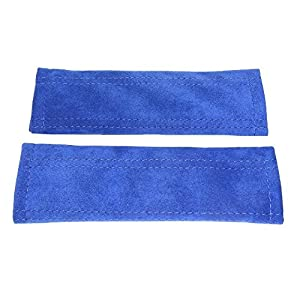 2 x Seat Belt Shoulder Pads Covers Genuine Blue Suede