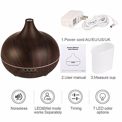 BeautySu. Ultrasonic Cool Mist Humidifier Aroma Essential, Essential Oil Diffuser for Office Home Bedroom Living Room Study Yoga Spa, to Sleep, Natural Calm, Relaxation - Dark Wood Grain by BeautySu. (Image #4)