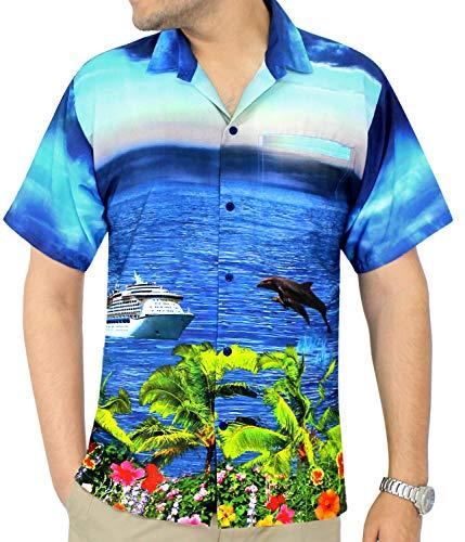 Formelles Plage Tropical Chemise Courtes Vacances Les w560 Occasionnels Aloha Chemises Forme Régulières Bleu La Leela Manches Pour Hawaï De Hommes Avant Poche En xqnEnTI7