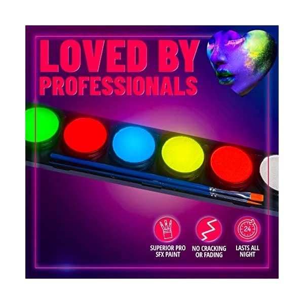 Neon-Glow-Body-Paint-Palette-by-Blue-Squid-PRO-6x10g-Neon-Color-Palette-Professional-UV-Blacklight-Body-Face-Painting-Set-Best-Quality-SFX-Makeup-Paint-Supplies-Safe-for-Sensitive-Skin