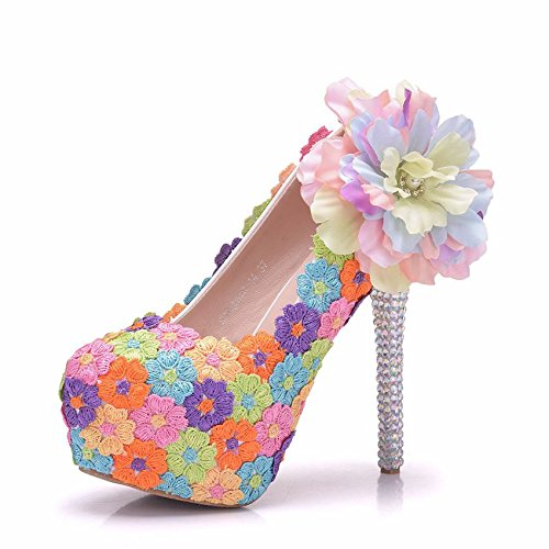 14 cm Color Flowers Thin Fine Head Round Shoes Women's Shoes Platform High with Lace Heel Waterproof 6qwFgR1