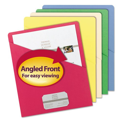 Slash Pocket Folders, Letter, 11 Point, Blue/Green/Manila/Red/Yellow, 25/Pack, Sold as 25 Each