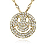 Uloveido Cute Emoji Smiley Face Pendants Circle Round Best Friendship Bling Necklace Gold