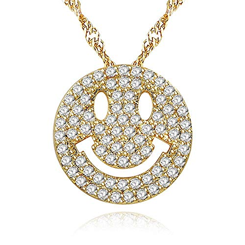 (Uloveido Cute Emoji Smiley Face Pendants Circle Round Best Friendship Bling Necklace Gold Color Chain Jewelry Gifts Ideas for Women Girls Y322-Gold)