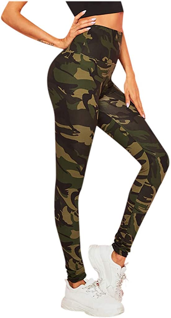 Rishine Womens Sports Pants High Waist Casual Camouflage Print Sports Pants Harem Pants Bell Bottoms Yoga Pants