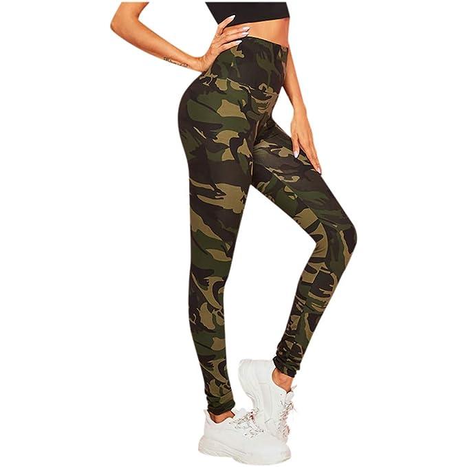 VPASS Mujer Pantalones Mallas Mujer Fitness Elásticos Impresión Pantalones de Yoga de Camuflaje Gym Slim Fit Pantalones Largos Pantalones Leggings ...