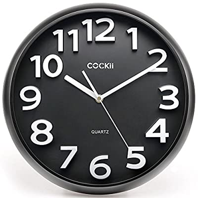 Cockii Wall Clock 13 Inch with Large 3D Numbers, Silent Non-Ticking Quartz Decorative Round Clock, Battery Operated, Easy to Read for Home, Office, School (Black) - 13 Inch 3D Wall Clock: Large white raised numbers against the black dial plate provide a very clear view and very easy to read. Precise quartz movements to guarantee accurate time. Super Quiet Clock: Non-Ticking design makes it comfortable for your rest and working time, avoid the noisy environment. Quiet sweeping quartz movement. Use friendly and Easy Installation: Glass lens Integrated with plastic frame perfectly and it prevents the dust from infiltrating. An Installation kit is provided for easy operation, you can easily hang it on wall without any efforts. - wall-clocks, living-room-decor, living-room - 51cy%2BhI dCL. SS400  -