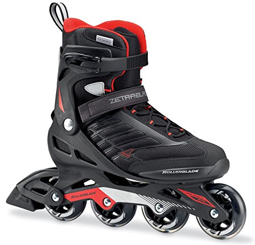 Hockey Rollerblades (Rollerblade Zetrablade Skate - 4x80mm/84A Wheels - SG 5 Performance Bearings - Black/Red - US Men's 11 (29.0))