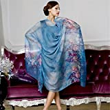 MSSilk Lady/Woman 100% Pure Silk Extra-large Beautiful Pattern Scarf Tippet Wraps Amice Kerchief Shawl Muffler (Blue flowers) For Sale
