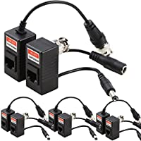 UHPPOTE Coax BNC Video + Power Balun Passive Connector Adaptor For CCTV Camera (Pack of 4 Pairs)