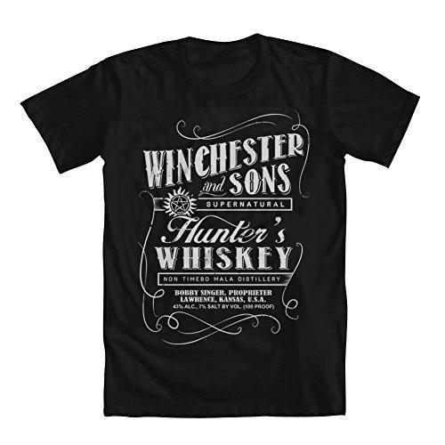 - GEEK TEEZ Winchester Hunter's Whiskey Men's T-Shirt Black Medium