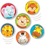 Baker Ross Ltd Jungle Chums Glitter Bouncy Balls (Pack of 6) for Kids Party Favours or The Playground