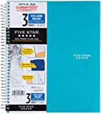 Five Star Wirebound Notebook, 3-Subject, 150 College-Ruled Sheets, 11 x 8.5 Inch Sheet Size, Teal (72462)