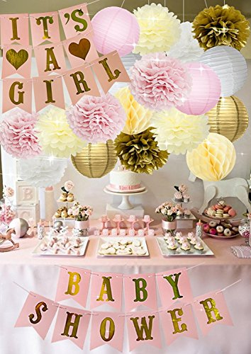- Baby Shower It's A Girl Party Supplies Decorations 20 Pcs| Cute Banners| Colorful Pompoms Flowers| Paper Lanterns| Honeycomb Balls| Gender Reveal Bridal Parties, Home Decor, Nursery, eBook Games Favor