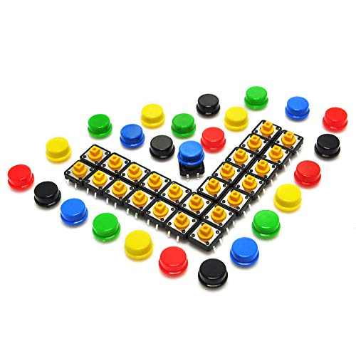 (Gikfun 12x12x7.3 mm Tact Tactile Push Button Momentary SMD PCB Switch with Cap for Arduino (Pack of 25pcs) AE1027)