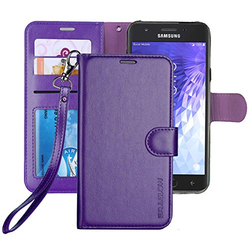 Galaxy J3 Achieve/J3 V 2018/J3 2018/Amp Prime 3 2018/Express Pime 3/J3 Star/Galaxy Sol 3 Case, ERAGLOW PU Leather Wallet Flip Protective Case Cover with Card Slots and Stand for Samsung J337 (Purple)