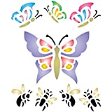"BUTTERFLY STENCIL (size: 3.25""w x 4""h) Reusable Stencils for Painting - Best Quality Wall Art Decor Ideas - Use for SCRAPBOOKING, Walls, Floors, Fabrics, Glass, Wood, Cards, and More…"