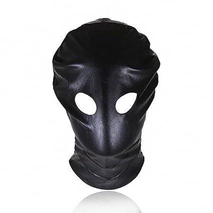 Amosfun Ojos abiertos máscara de cuero de patente Juguetes eróticos juguetes de pareja que ligan la