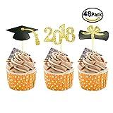 #7: Class of 2018 Cupcake Toppers,UoUo Graduation Party Decoration Food Picks Cake Picks Diploma, 2018, Grad Cap Set 48 Pack