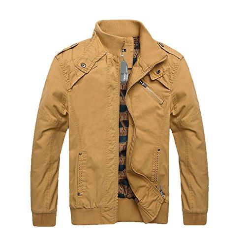 Zicac Fashion New Men's Casual Jacket Zipper Coat (L, Khaki)