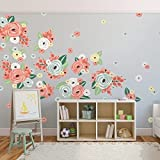 UrbanWalls 60PCS Wall Stickers, Vinyl Self-adhesive Wall Decal Wallpaper Home Décor - Removable and Water Resistant for Bedroom,Living Room: Multicolored Geen, Orange, Yellow, White Graphic Flowers