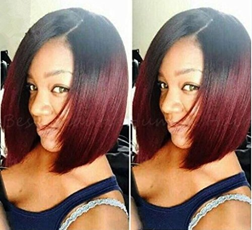 Remeehi Sexy Ombre Natural Color/99j# Short Straight Bob Brazilian Human hair Lace Front Full Lace Wig Baby Hair (Full lace wig 12 inch)