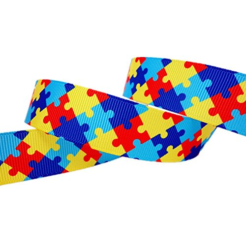 25 Yards 7/8 Inch Autism Awareness Puzzle Printed Grosgrain Ribbon Hairbows Craft (Autism Awareness Puzzle Ribbon)