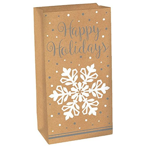 Multicolor Amscan 12 Count Snowflake Treat Sack 10 by 5-1//4 by 2-1//2