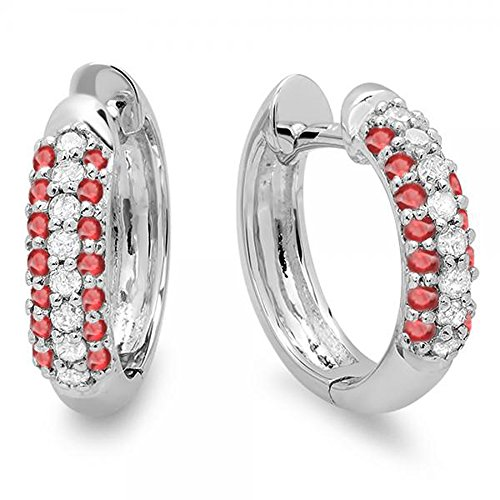 Dazzlingrock Collection 14K Round Ruby & White Diamond Ladies Pave Set Huggies Hoop Earrings, White Gold ()
