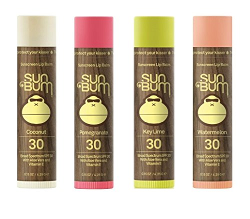 Sun Bum SPF 30 Lip Balm 4 Pack - Coconut, Key Lime, Pomegranate, Watermelon