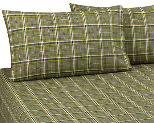 "DELANNA Flannel Pillowcases 100% Cotton Standard Size 20"" x 30"" Set Includes 2 Pillowcases (Standard, Sage Plaid)"