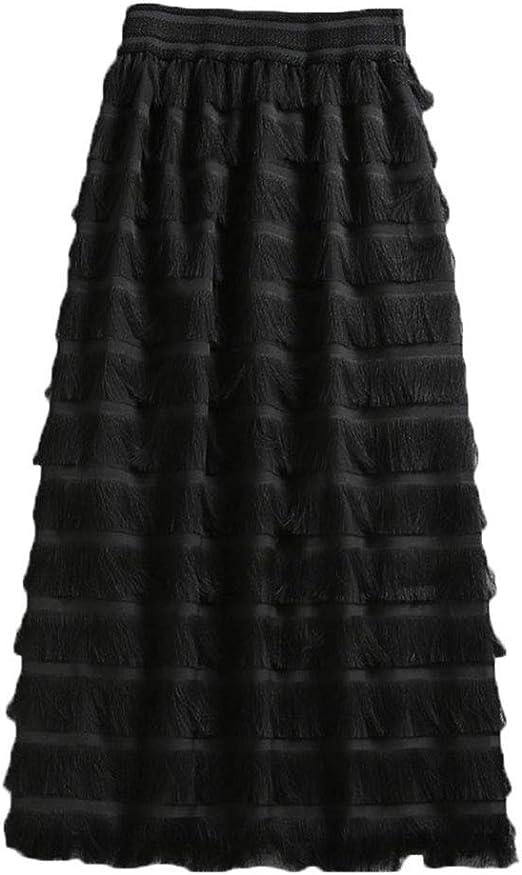 LiangZhu Faldas De Pastel De Mujeres De Cintura Alta con Borla ...