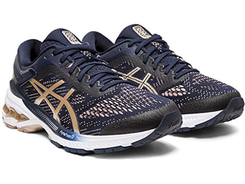 ASICS Women's Gel-Kayano 26 (D) Running Shoes 1012A457, 12W, Midnight/Frosted Almond