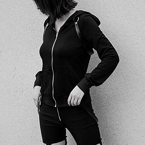 In Tasca Nero Zjswcp Hip Con Felpe Da Donna Cotone Cappuccio Cerniera Femminile Stile Geometrica Felpa Zwart Gotico Punk Casual Hop Tascabile vvwZqfP